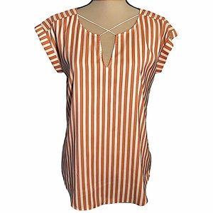 EXPRESS Short Sleeve Orange Striped Shirt Blouse